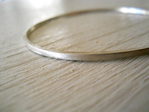Delicate narrow sterling silver bangle in Matte or Polished