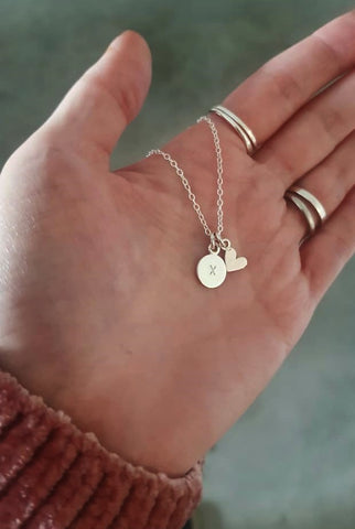 Disc and heart necklace