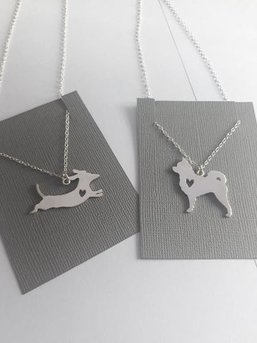 Custom dog silhouette necklace dog necklace