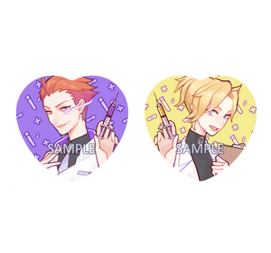 Buttons: Doctor Moira and Mercy