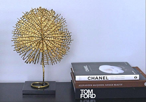 cool decorative sculpture in gold, handmade perfect gift and addition to any room, interior design