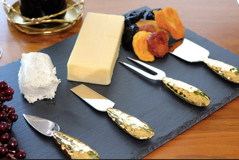 handmade cheese knife set, wedding gift or house warming gift in gold and wine coaster, cheese and wine party supplies