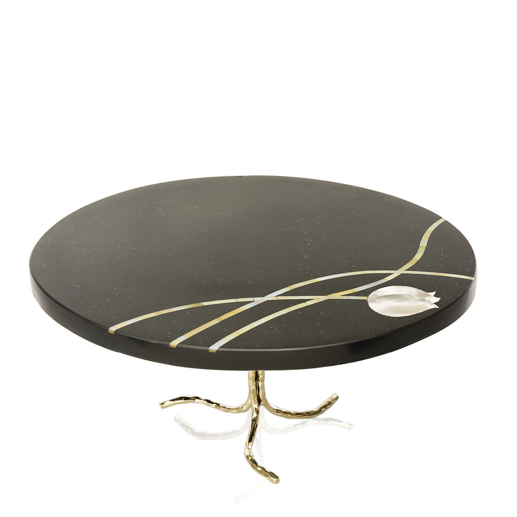 Mother of Pearl Inlay Cake Stand - Peetal New York