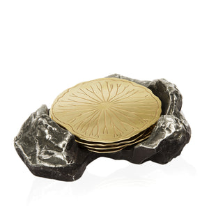Lotus Leaf Fallen on a Rock Coaster in Sparkling Gold - Peetal New York