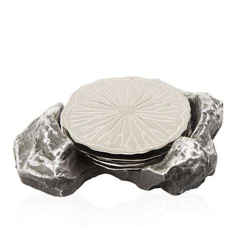 Lotus Leaf Fallen on a Rock Coaster in Elegant Silver
