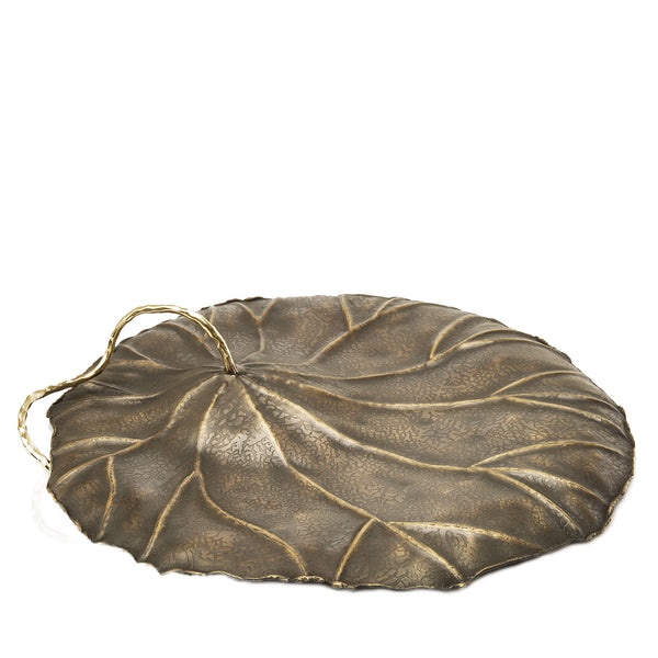 Inverted Lotus Leaf Sculpture in Antique Gold - Peetal New York