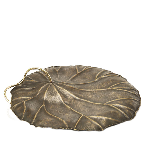 Inverted Lotus Leaf Sculpture in Antique Gold