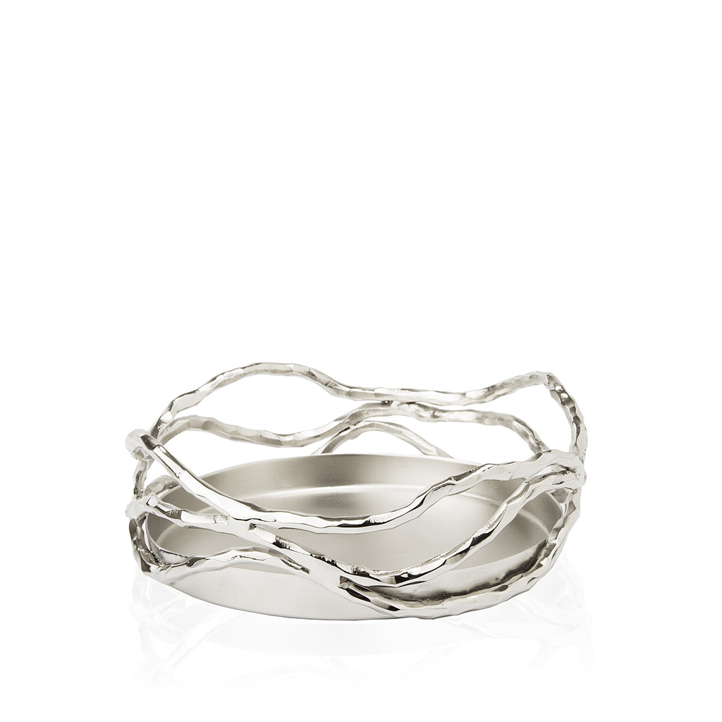 Lotus Stem Bottle Coaster in Elegant Silver - Peetal New York