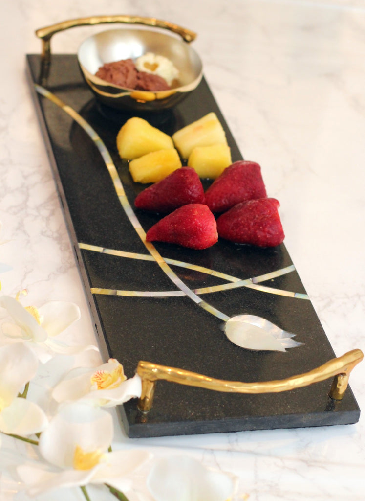 Shop Mother of Pearl Inlay Chip and Dip Set |Peetal New York modern home decor  [Peetal New York]