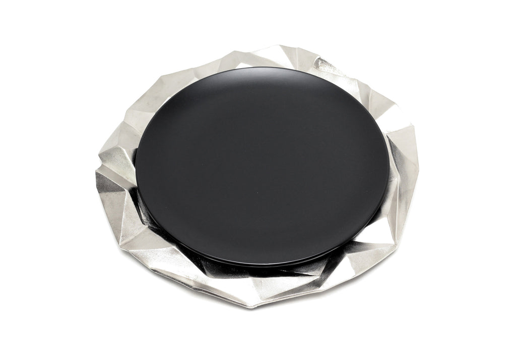 Faceted Hollow Charger Plate in Elegant Silver modern home decor  [Peetal New York]