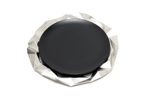 Faceted Hollow Charger Plate in Elegant Silver