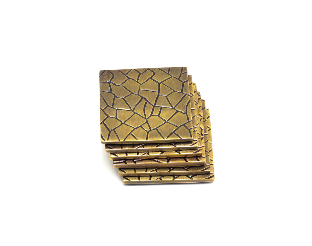 Faceted Coaster Set in Sparkling Gold - Peetal and Carissa