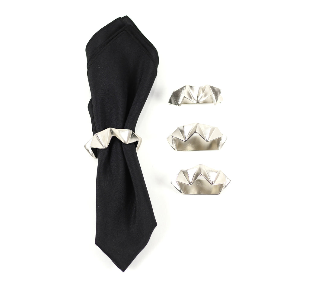 Faceted Napkin Rings in Elegant Silver - Peetal and Carissa