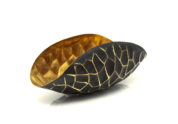 Faceted Curved Centre Piece Bowl in Antique Gold modern home decor  [Peetal New York]