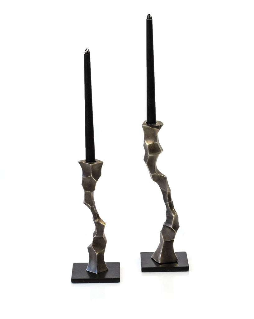 Faceted Taper Candle Stand Set in Antique Nickel - Peetal New York