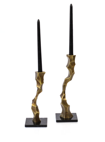 Faceted Taper Candle Stand Set in Antique Brass