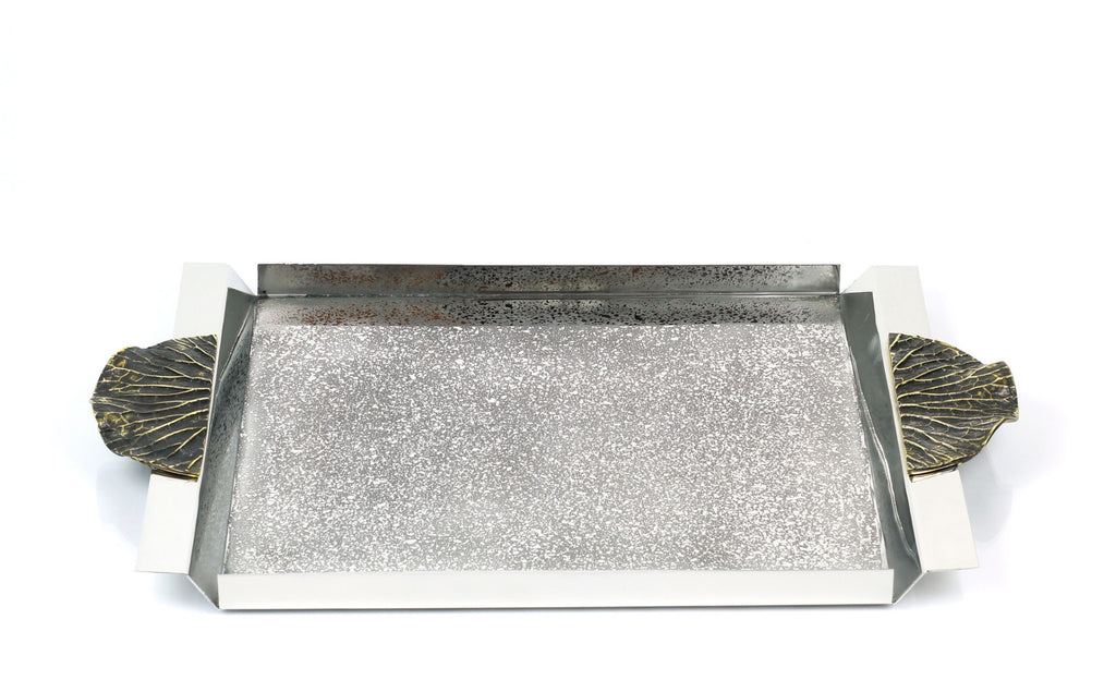 Lotus Leaf Handle Rectangular Tray in Timeless Antique modern home decor  [Peetal New York]