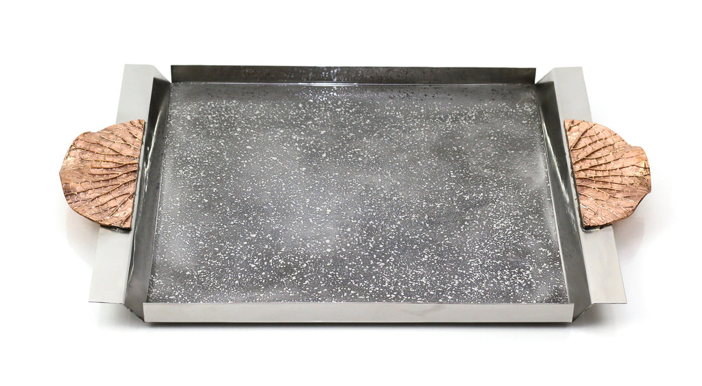 Shop stainless steal copper Leaf Handle Rectangular Tray| Peetal and Carissa modern home decor  [Peetal New York]