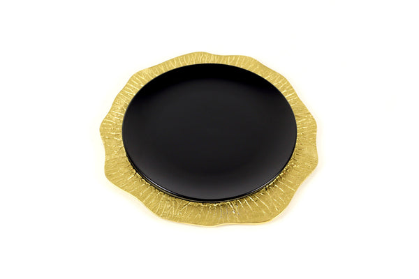 Lotus Leaf Hollow Charger Plate in Sparkling Gold modern home decor  [Peetal New York]