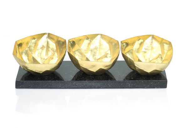 Faceted Nut Bowl Set - Peetal New York