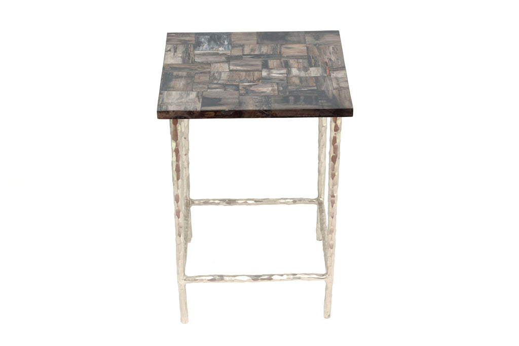 Ossified Wood Small Side Table modern home decor  [Peetal New York]