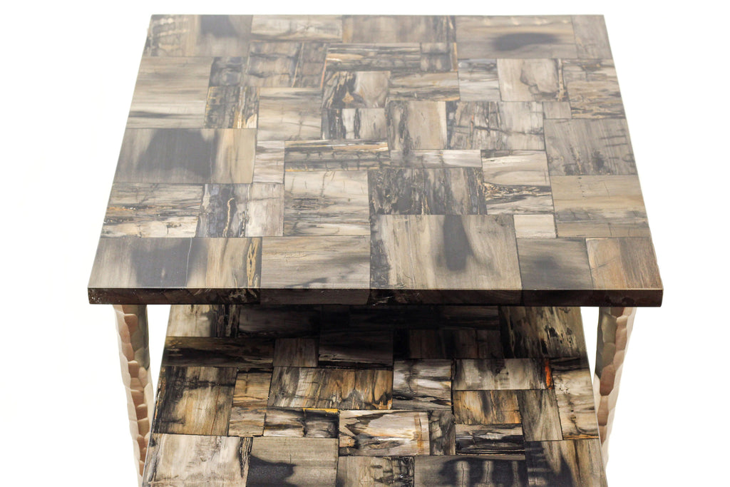 Ossified Wood Large Side Table modern home decor  [Peetal New York]