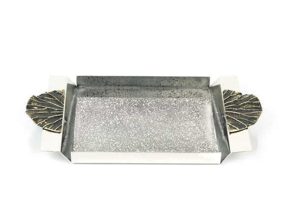 Lotus Leaf Handle Rectangular Tray - Small - Peetal New York