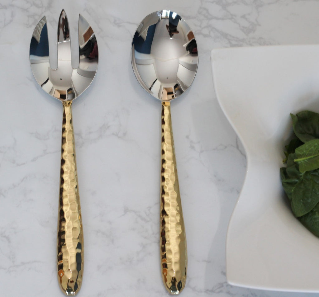 Shop handmade modern gold serving spoon set | Peetal New York modern home decor  [Peetal New York]