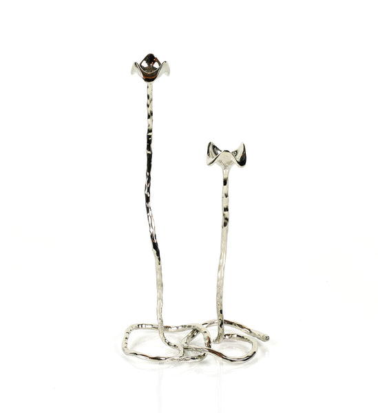 Lotus Stem Taper Candle Holder in Elegant Silver