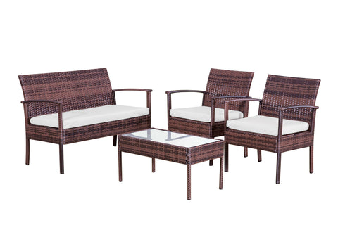 Garden sofa set AM704 Brown with light beige cushions