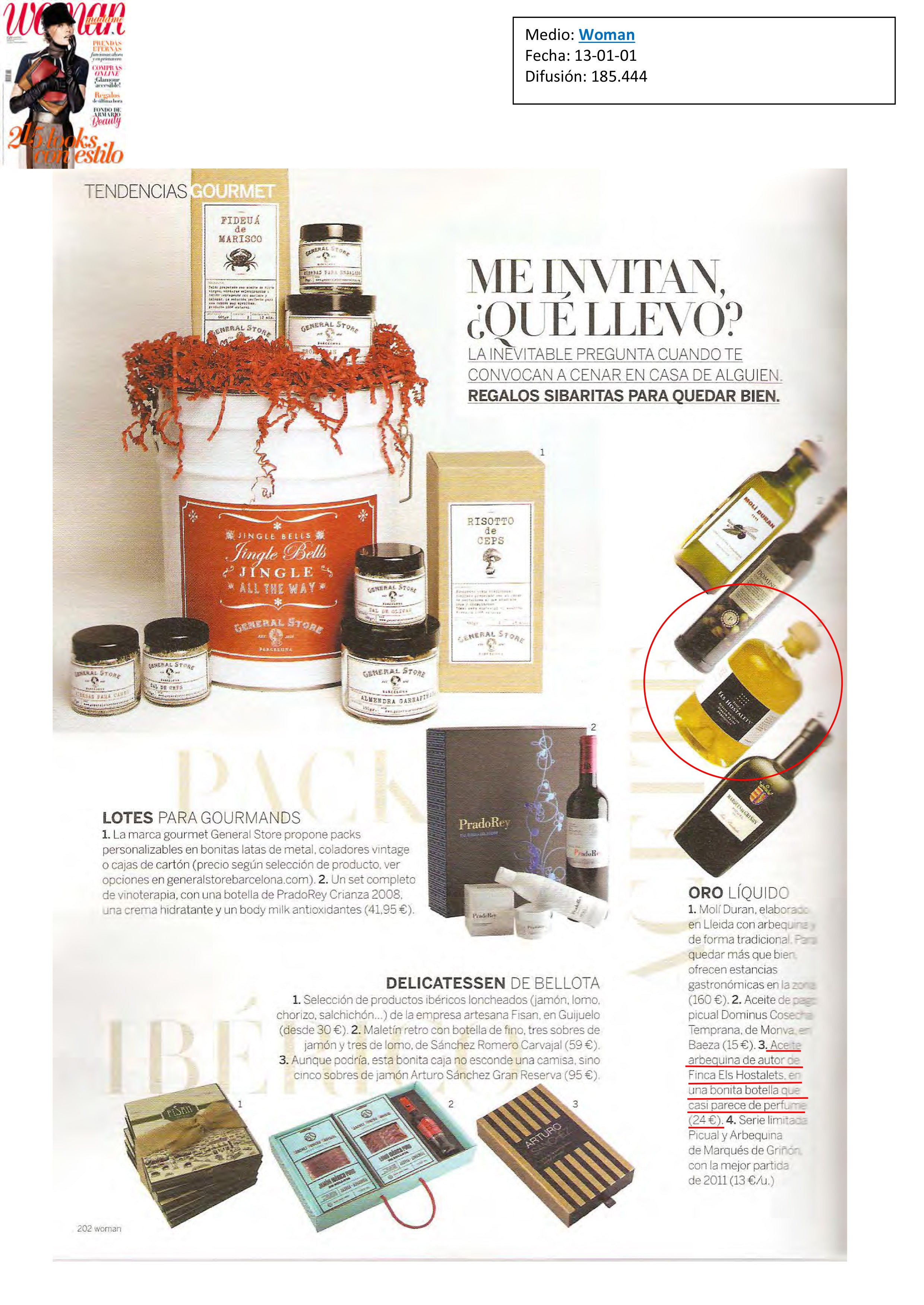 Aceite Finca Hostalets en Revista Woman