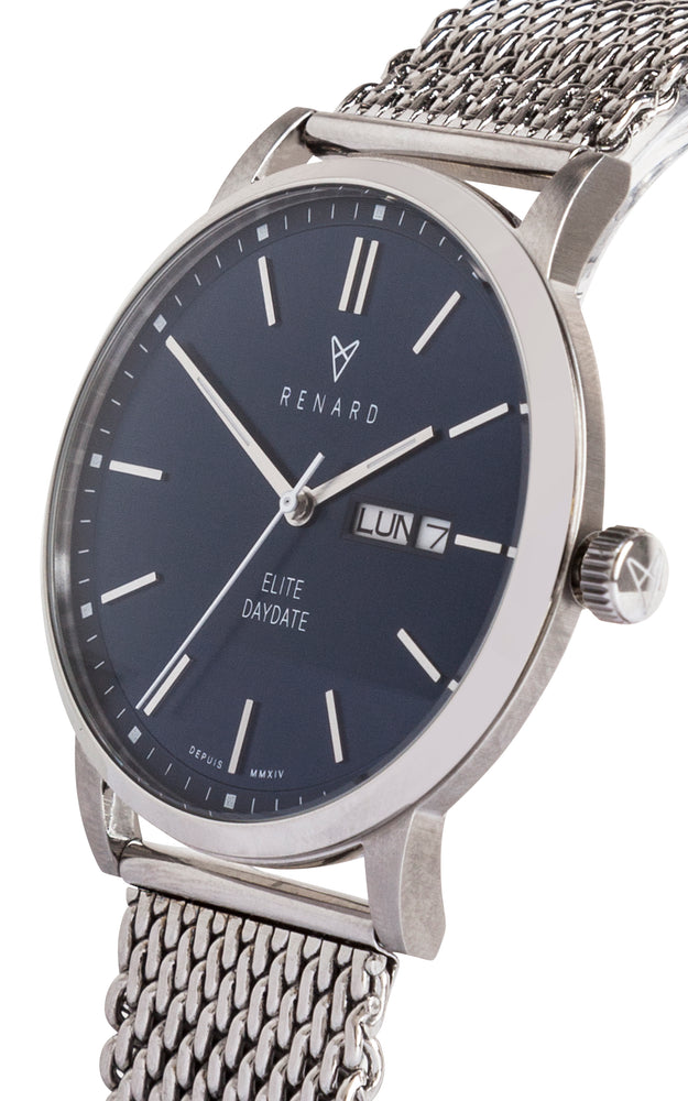 Elite Day Date Blue Milanese 2