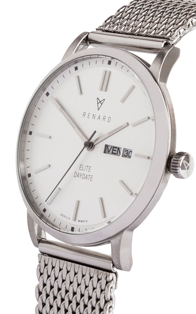 Elite Day Date Silver Milanese 2