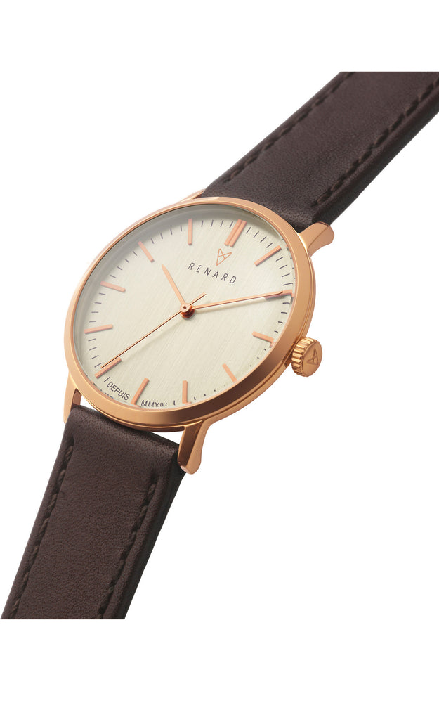 Elite Eggshell Rose Gold Veau Brown 2
