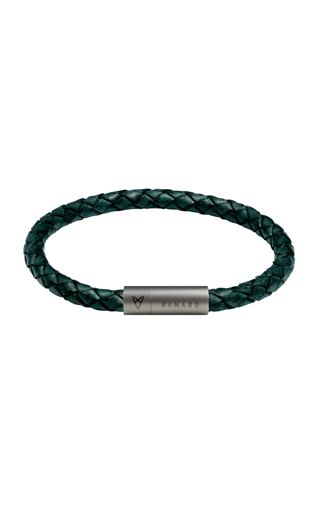 Braided Green Leather Bracelet 1