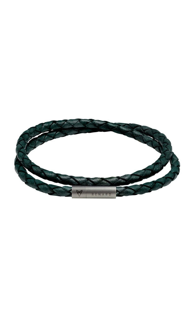 Braided Green Leather Double Bracelet 1