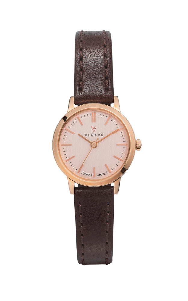 Elite Rose Gold Veau Brown Small 1