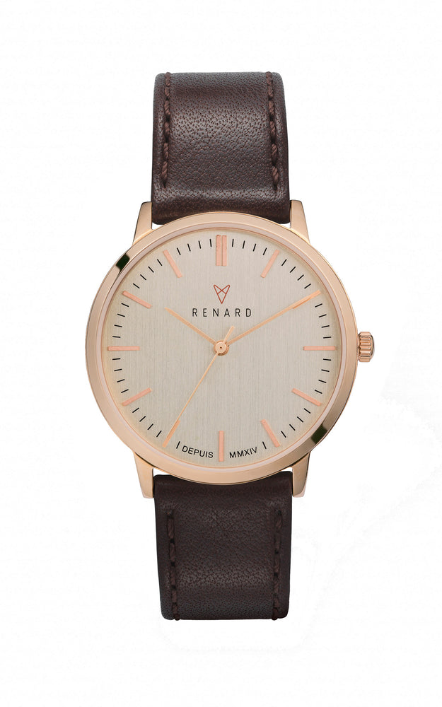 Elite Eggshell Rose Gold Veau Brown 1
