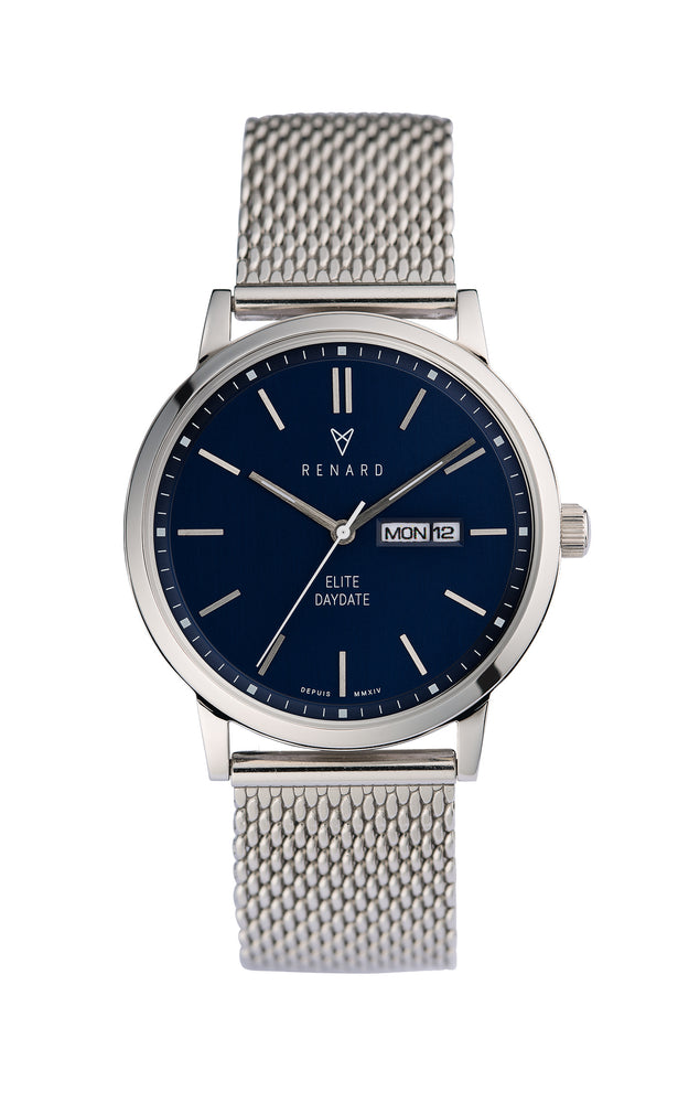 Elite Day Date Blue Milanese 1