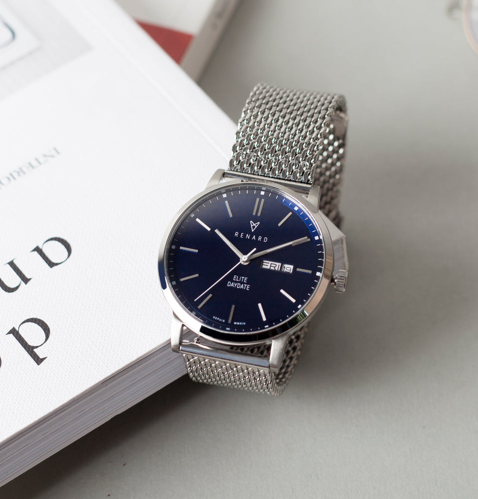 Elite Day Date Blue Milanese 5