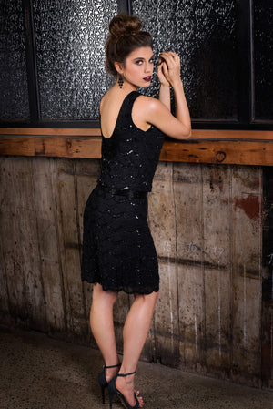 Black sequin Bridesmaid dress