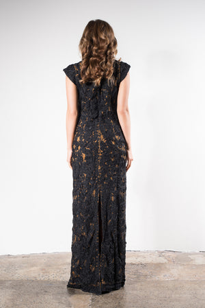 Black beaded Mother of the Bride dress
