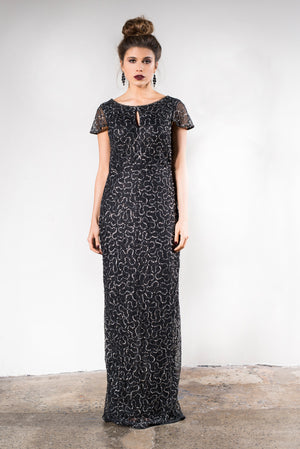 Black sequin Mother of the Bride dress