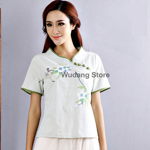 Chinese Cheongsam Handpainted Taiji Shirt for Women