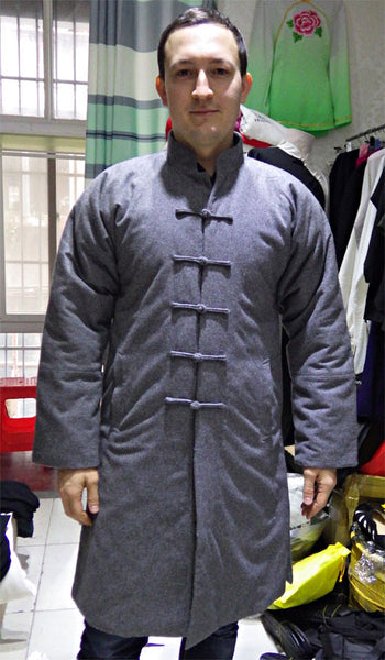 100% Sheep Wool Grey Wudang Winter Coat - Wudang Store