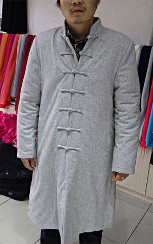 100% Sheep Wool Light Grey Wudang Winter Coat - Wudang Store