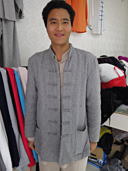 100% Sheep Wool Light Grey Wudang Kung Fu Jacket - Wudang Store