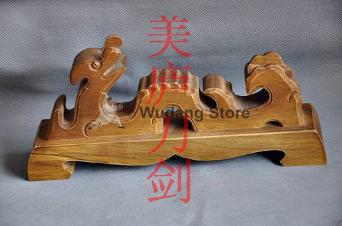 Classical Brown Wooden Dragon Sword Rack - Wudang Store