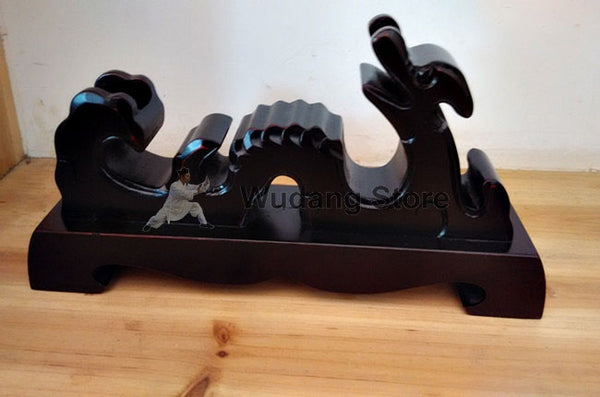 Classical Black Wooden Dragon Sword Shelf - Wudang Store