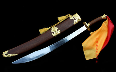 Chinese Kung Fu Dao Handmade Golden Dragon Fittings Semi-Flexible Blade